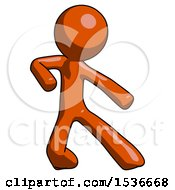 Orange Design Mascot Man Karate Defense Pose Right