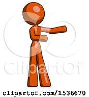 Orange Design Mascot Woman Presenting Something To Her Left