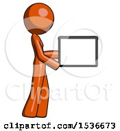 Orange Design Mascot Woman Show Tablet Device Computer To Viewer Blank Area