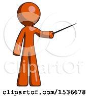 Orange Design Mascot Man Teacher Or Conductor With Stick Or Baton Directing