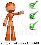 Orange Design Mascot Woman Standing By A Checkmark List Arm Extended