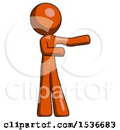 Orange Design Mascot Man Presenting Something To His Left