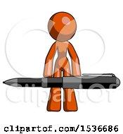 Orange Design Mascot Woman Lifting A Giant Pen Like Weights