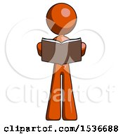 Orange Design Mascot Woman Reading Book While Standing Up Facing Viewer