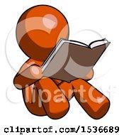 Orange Design Mascot Man Reading Book While Sitting Down