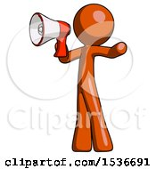 Orange Design Mascot Man Shouting Into Megaphone Bullhorn Facing Left