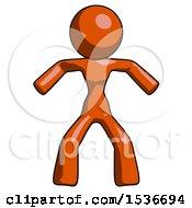 Orange Design Mascot Woman Sumo Wrestling Power Pose