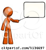 Orange Design Mascot Woman Pointing At Dry Erase Board With Stick Giving Presentation