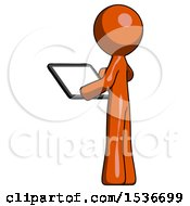 Orange Design Mascot Man Looking At Tablet Device Computer With Back To Viewer
