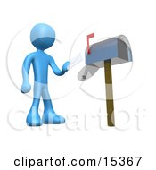 Blue Person Standing In Front Of A Mailbox With The Red Flag Up Mailing A Letter Clipart Illustration Image