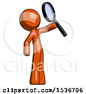 Orange Design Mascot Man Inspecting With Large Magnifying Glass Facing Up