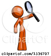Orange Design Mascot Woman Inspecting With Large Magnifying Glass Facing Up