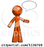 Orange Design Mascot Man With Word Bubble Talking Chat Icon