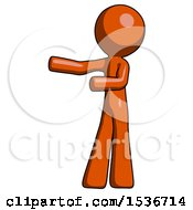 Orange Design Mascot Man Presenting Something To His Right