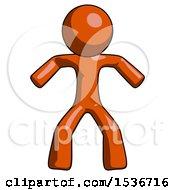 Orange Design Mascot Male Sumo Wrestling Power Pose