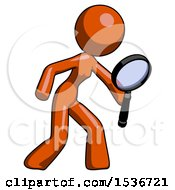 Orange Design Mascot Woman Inspecting With Large Magnifying Glass Right