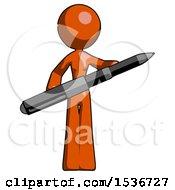 Orange Design Mascot Woman Posing Confidently With Giant Pen