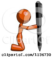 Orange Design Mascot Woman Posing With Giant Pen In Powerful Yet Awkward Manner Because Funny