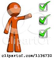 Orange Design Mascot Man Standing By List Of Checkmarks