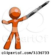 Orange Design Mascot Man Demonstrating That Indeed The Pen Is Mightier