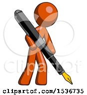 Orange Design Mascot Man Drawing Or Writing With Large Calligraphy Pen