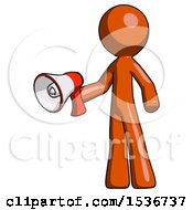 Orange Design Mascot Man Holding Megaphone Bullhorn Facing Right