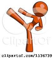 Orange Design Mascot Woman Ninja Kick Left
