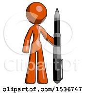 Orange Design Mascot Woman Holding Large Pen