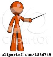 Orange Design Mascot Woman Teacher Or Conductor With Stick Or Baton Directing