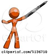 Orange Design Mascot Woman Demonstrating That Indeed The Pen Is Mightier