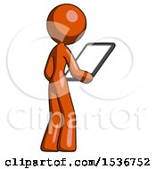 Orange Design Mascot Woman Looking At Tablet Device Computer Facing Away