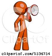 Orange Design Mascot Man Shouting Into Megaphone Bullhorn Facing Right