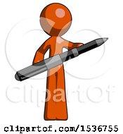 Orange Design Mascot Man Posing Confidently With Giant Pen