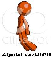 Orange Design Mascot Woman Floating Through Air Left