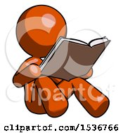 Poster, Art Print Of Orange Design Mascot Woman Reading Book While Sitting Down