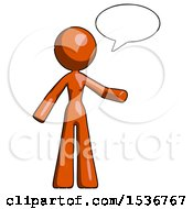 Orange Design Mascot Woman With Word Bubble Talking Chat Icon