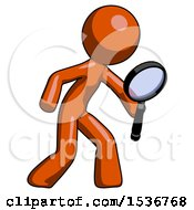 Orange Design Mascot Man Inspecting With Large Magnifying Glass Right