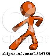 Orange Design Mascot Woman Karate Defense Pose Left