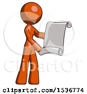 Orange Design Mascot Woman Holding Blueprints Or Scroll