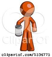 Orange Design Mascot Man Begger Holding Can Begging Or Asking For Charity
