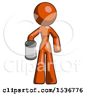 Orange Design Mascot Woman Begger Holding Can Begging Or Asking For Charity