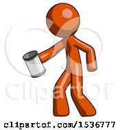 Orange Design Mascot Man Begger Holding Can Begging Or Asking For Charity Facing Left