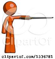 Orange Design Mascot Woman Standing With Ninja Sword Katana Pointing Right