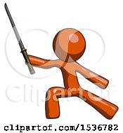 Orange Design Mascot Man With Ninja Sword Katana In Defense Pose