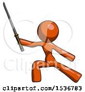 Orange Design Mascot Woman With Ninja Sword Katana In Defense Pose