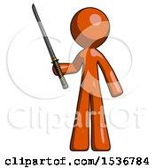 Orange Design Mascot Man Standing Up With Ninja Sword Katana