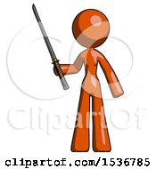 Orange Design Mascot Woman Standing Up With Ninja Sword Katana