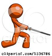 Orange Design Mascot Man With Ninja Sword Katana Slicing Or Striking Something