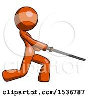 Orange Design Mascot Woman With Ninja Sword Katana Slicing Or Striking Something