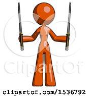 Orange Design Mascot Woman Posing With Two Ninja Sword Katanas Up